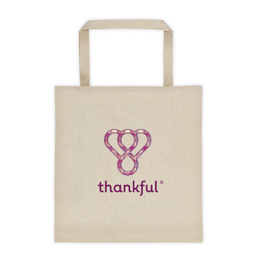 "Thankful ""Stitching"" Tote Canvas Shopping Bag"