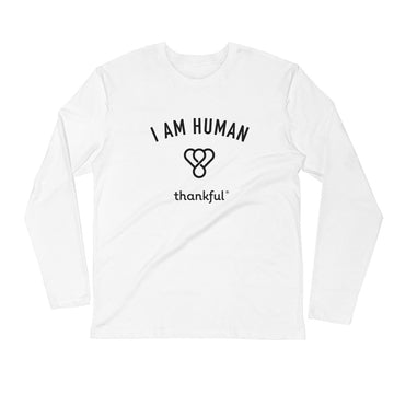 """I am Human"" Emblem Long Sleeve Men's Crew T-Shirt"