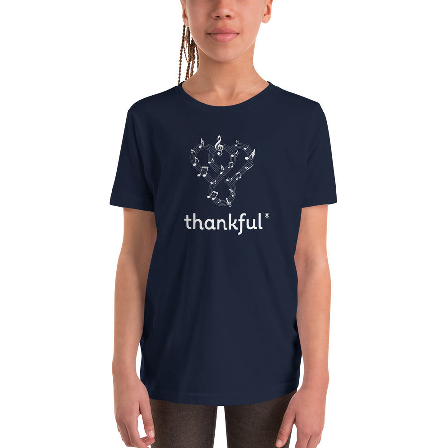 "Thankful ""Musical Notes"" Youth Short Sleeve T-Shirt"