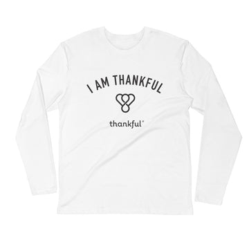"""I am Thankful"" Emblem Long Sleeve Men's Crew T-Shirt"