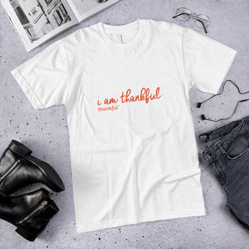 """I am Thankful"" Script Short Sleeve Men's Jersey T-Shirt"