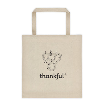 "Thankful ""Music"" Tote Canvas Shopping Bag"