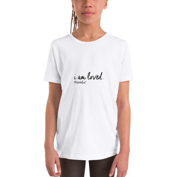 """I am Loved"" Script Youth Short Sleeve T-Shirt"