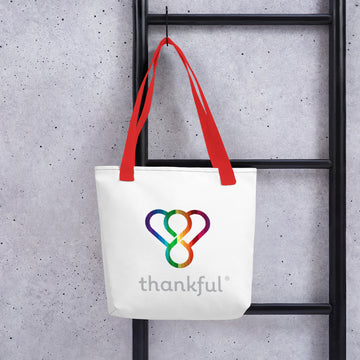 "Thankful ""Rainbow"" Tote Weather Resistant Shopping Bag"
