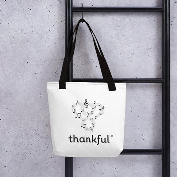 "Thankful ""Music"" Tote Weather Resistant Shopping Bag"