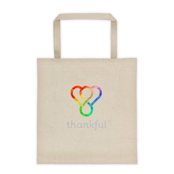 "Thankful ""Rainbow"" Tote Canvas Shopping Bag"