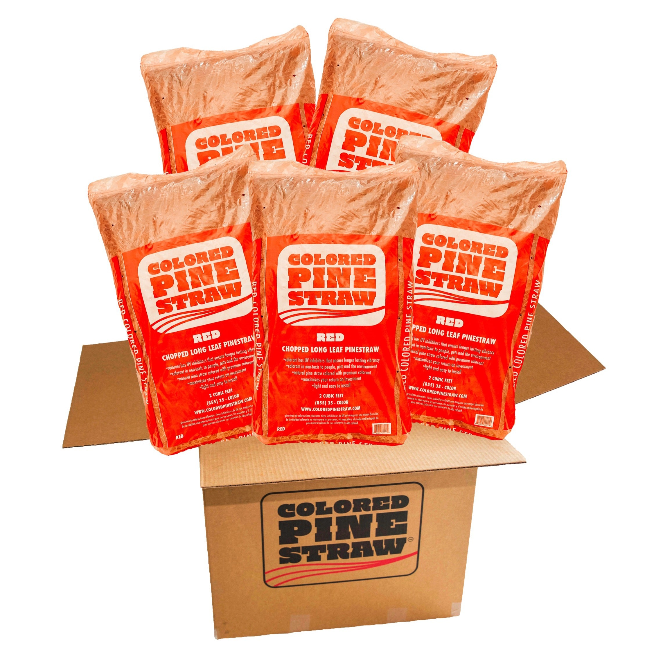 box of   five bags of Red Colored Pine Straw