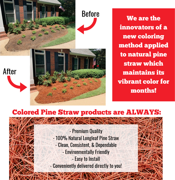 Before and after image of a planted area with regular pine straw vs. Colored Pine Straw.