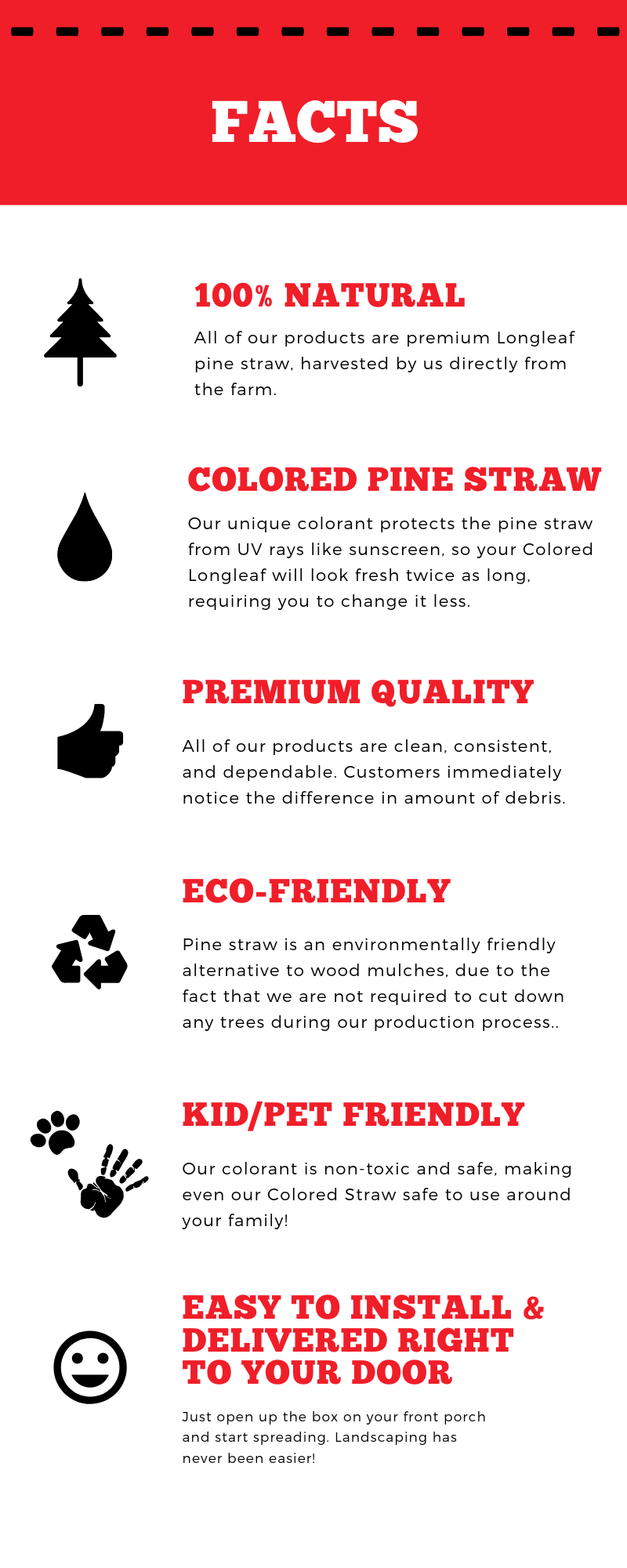 Colored Pine Straw Facts