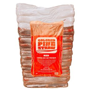 Pallet of 90 2 cu. ft. Bags of Red Colored Pine Straw