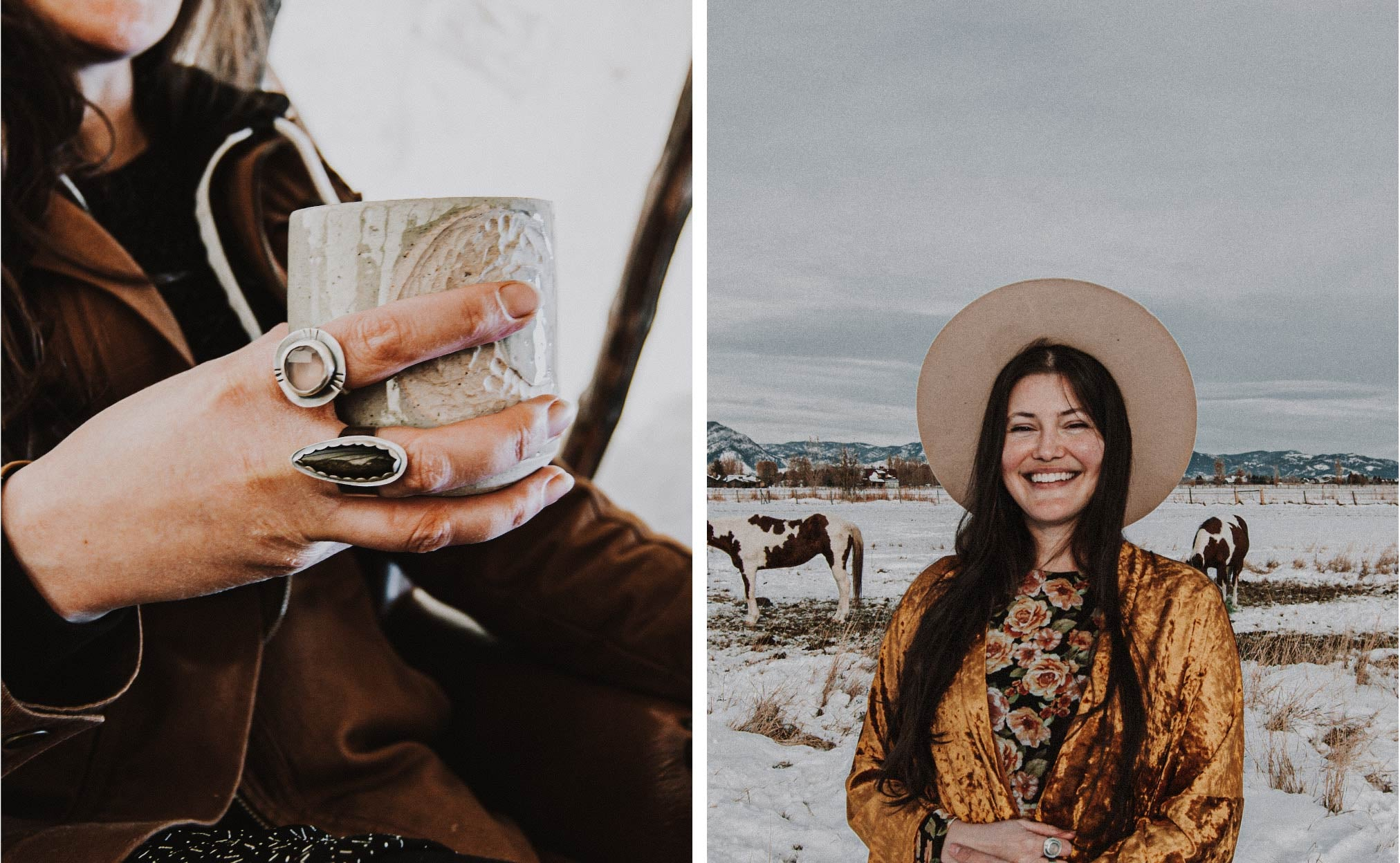 hand with rings holding a handmade mug, and woman standing in the Montana snow