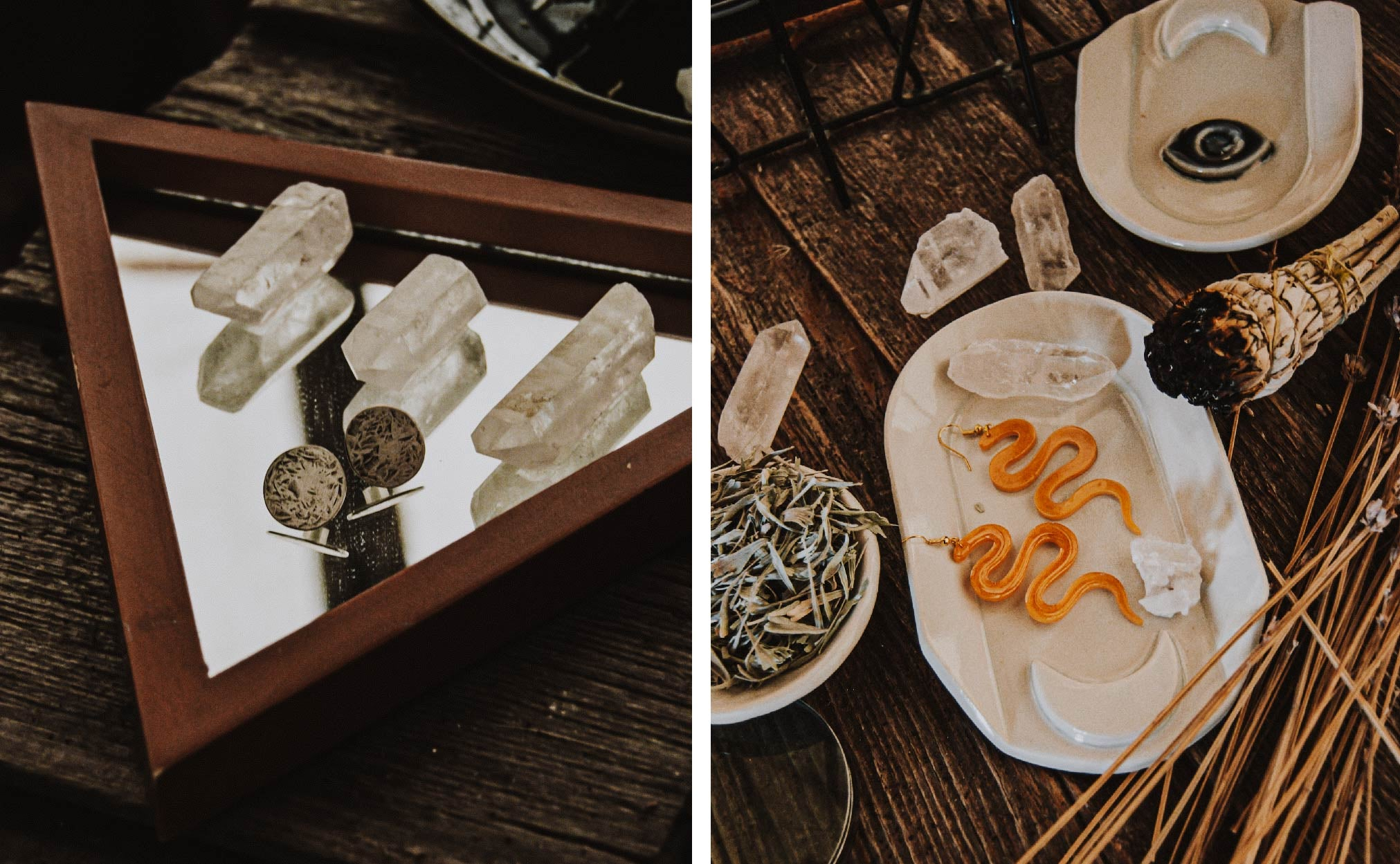 Handmade jewelry on a spooky halloween table setting
