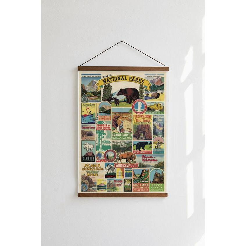 National Parks Cavallini Poster - Intrigue Ink Visit Bozeman, Unique Shopping Boutique in Montana, Work from Home Clothes for Women