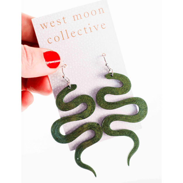 Resin Earrings Snake Charmer Olive Shimmer - Intrigue Ink Visit Bozeman, Unique Shopping Boutique in Montana, Work from Home Clothes for Women