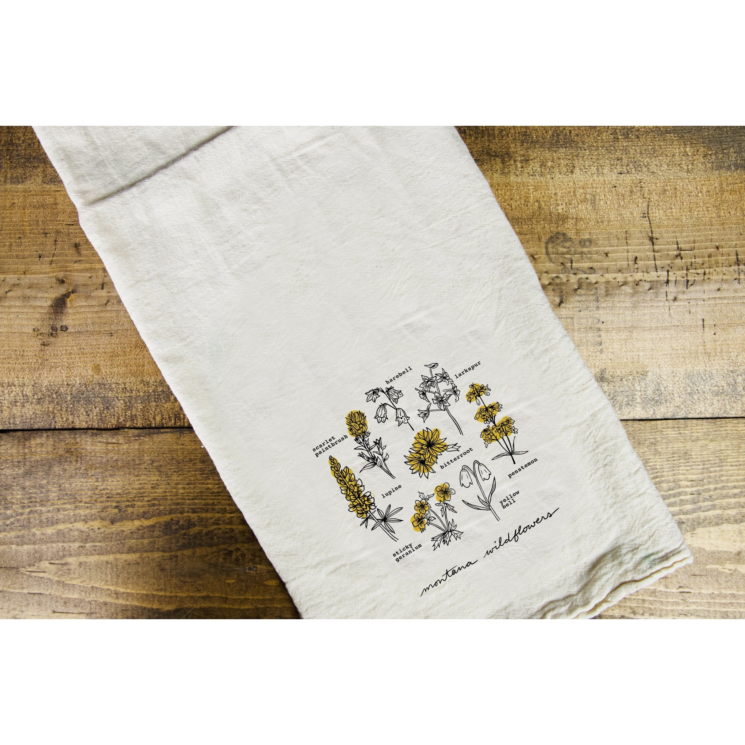 Yellow Wildflowers Dish Towel - Intrigue Ink Visit Bozeman, Unique Shopping Boutique in Montana, Work from Home Clothes for Women