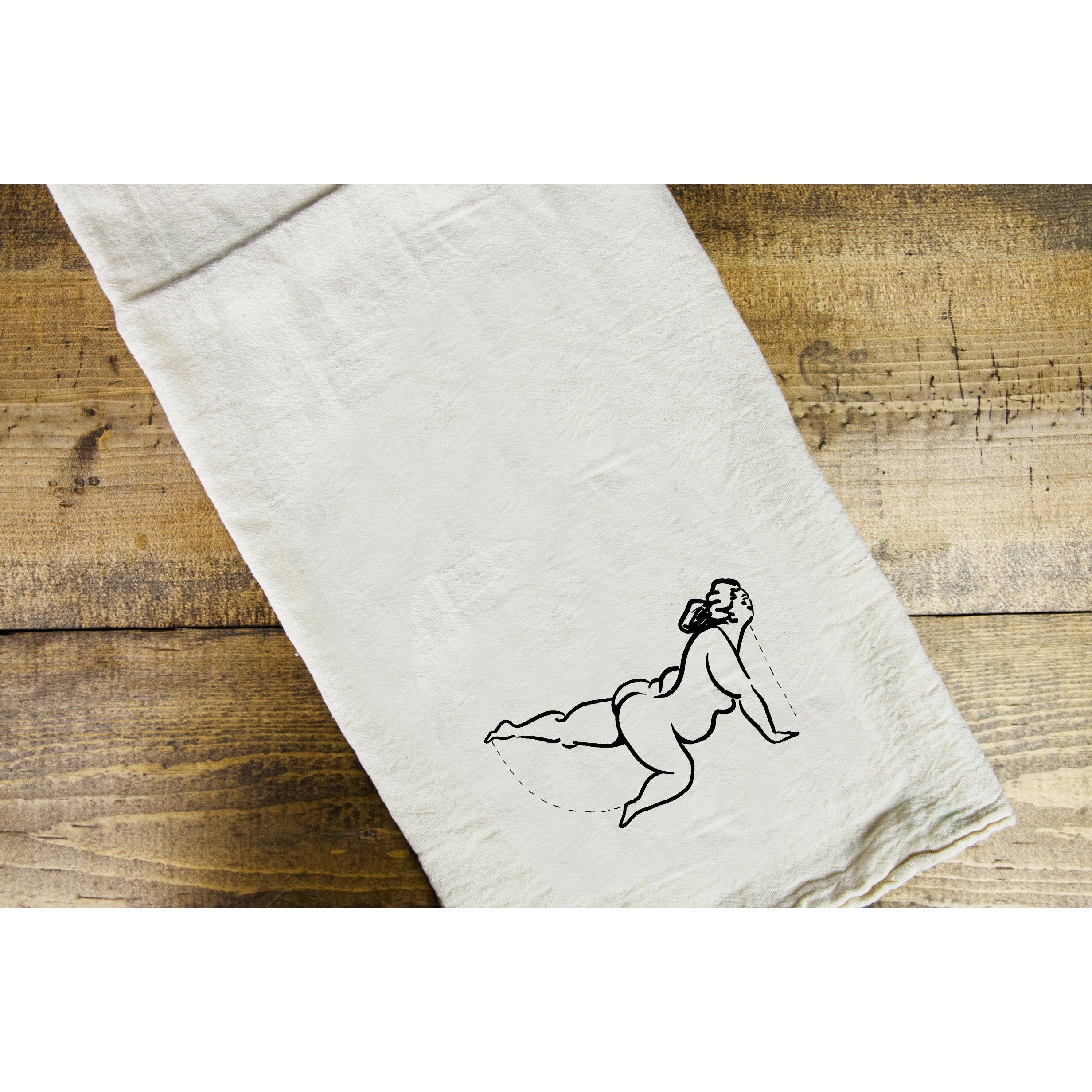 Yoga Lady 1 Dish Towel - Intrigue Ink Visit Bozeman, Unique Shopping Boutique in Montana, Work from Home Clothes for Women