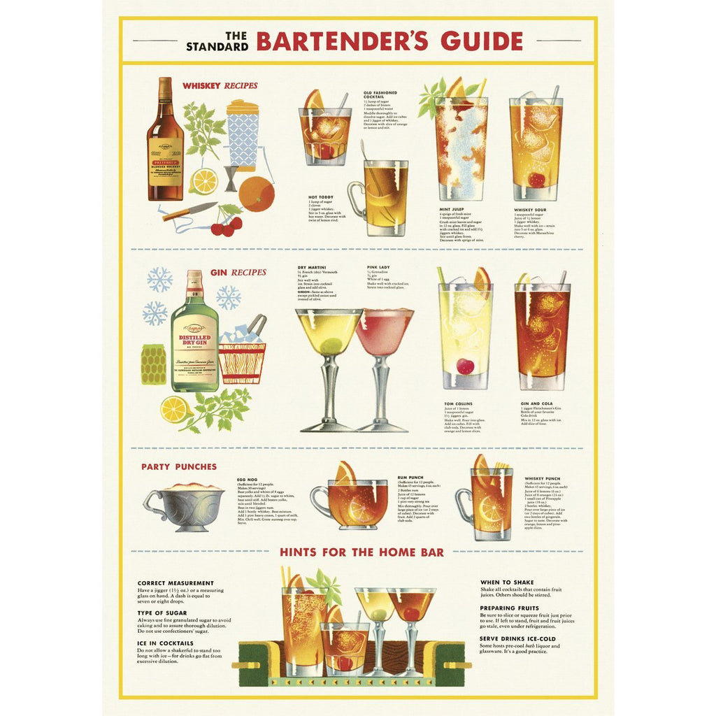 Bartender's Guide Cavallini Poster - Intrigue Ink Bozeman Boutique