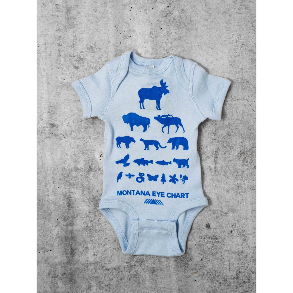 Blue Eye Chart Onesie - Intrigue Ink Visit Bozeman, Unique Shopping Boutique in Montana, Work from Home Clothes for Women