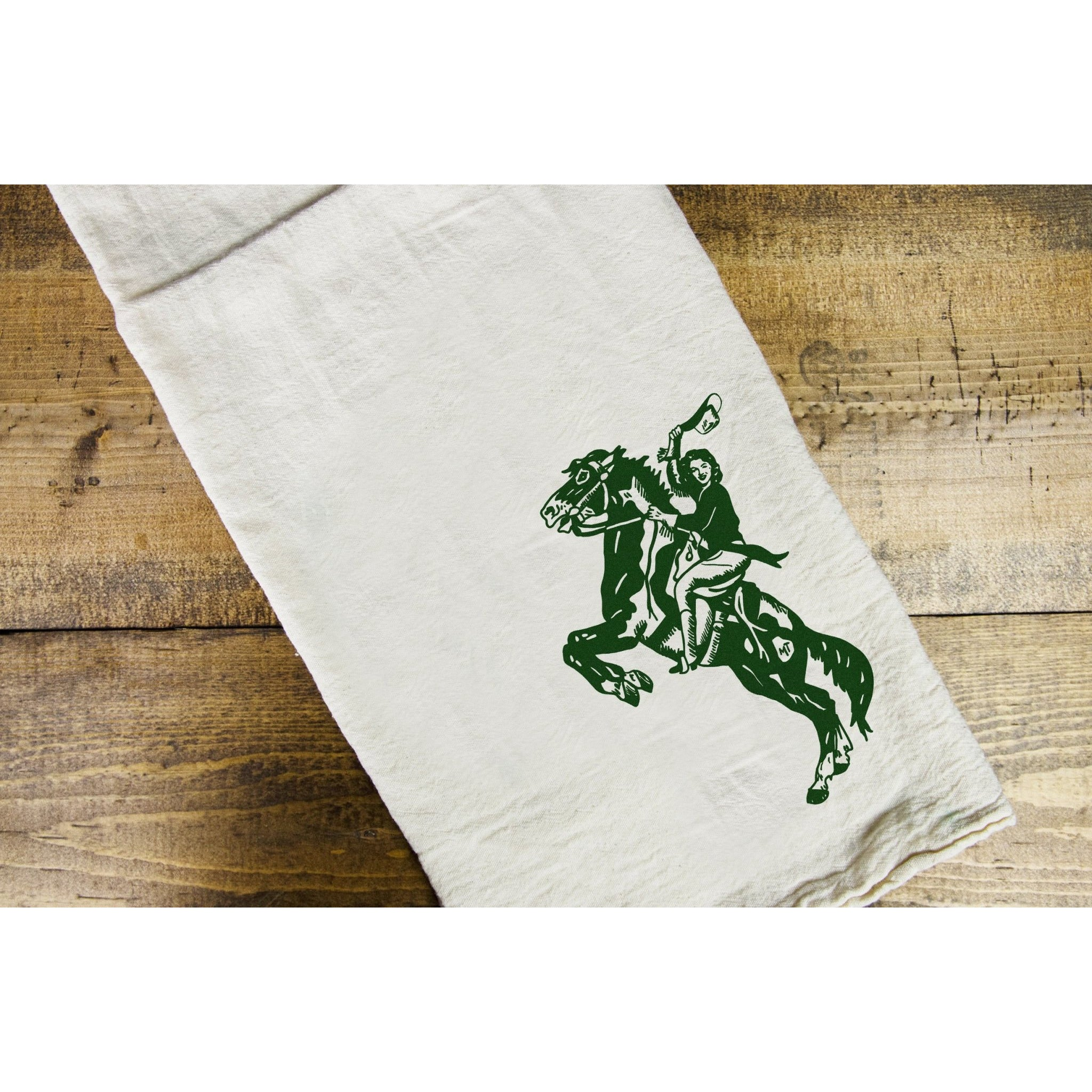 Bucking Gal Dish Towel - Intrigue Ink Visit Bozeman, Unique Shopping Boutique in Montana, Work from Home Clothes for Women
