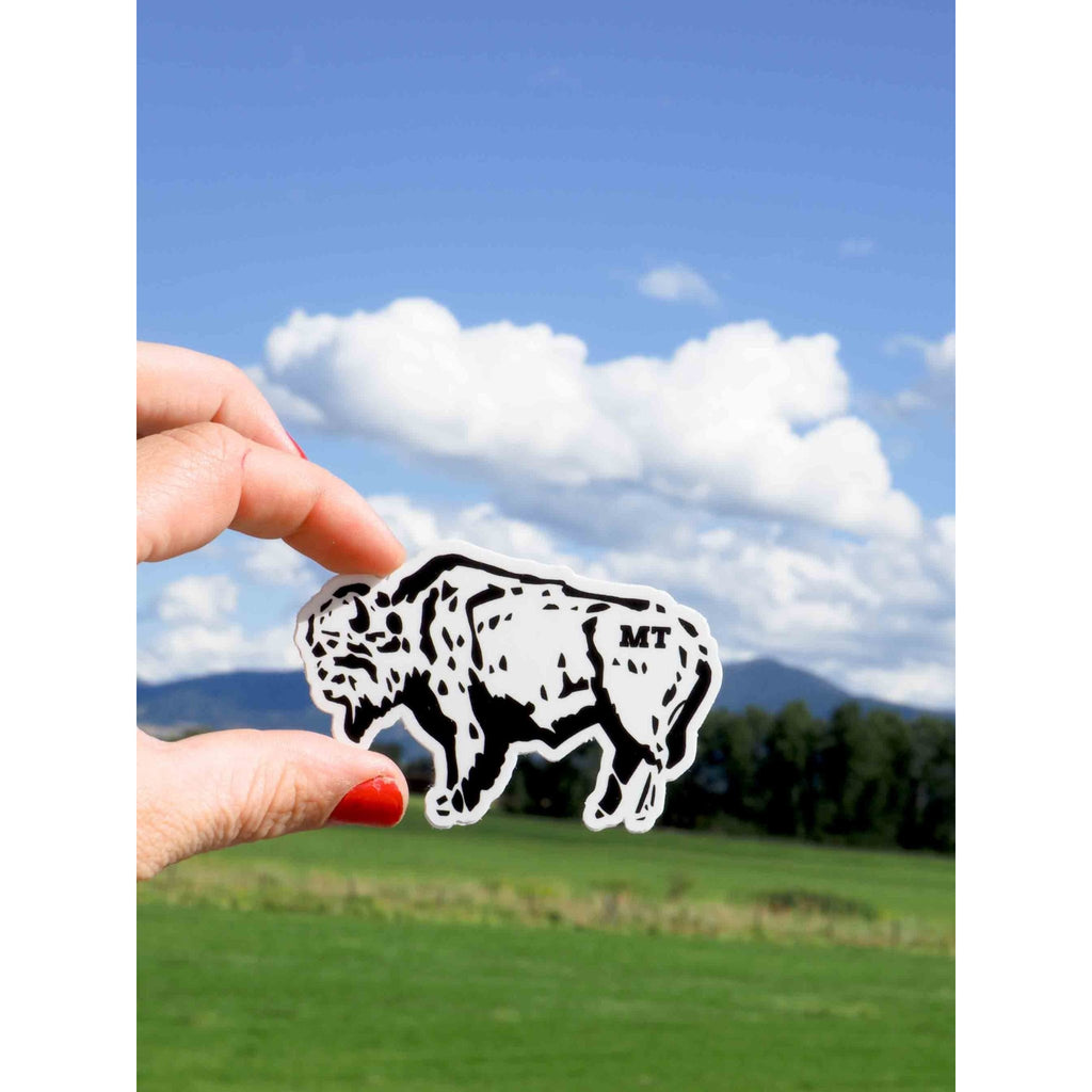 Buffalo Sketch Sticker - Intrigue Ink Visit Bozeman, Unique Shopping Boutique in Montana, Work from Home Clothes for Women