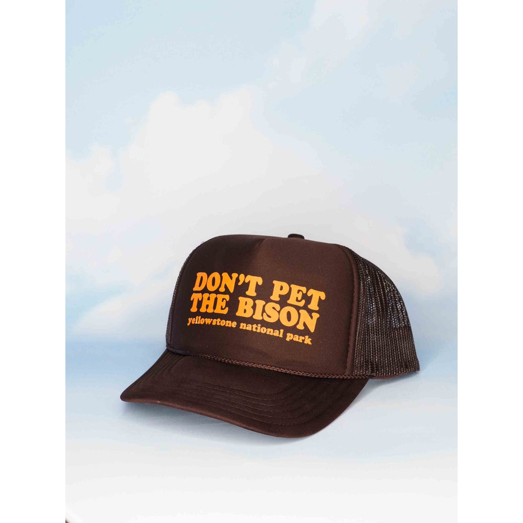 Don't Pet the Bison Brown Trucker Hat - Intrigue Ink Bozeman Boutique