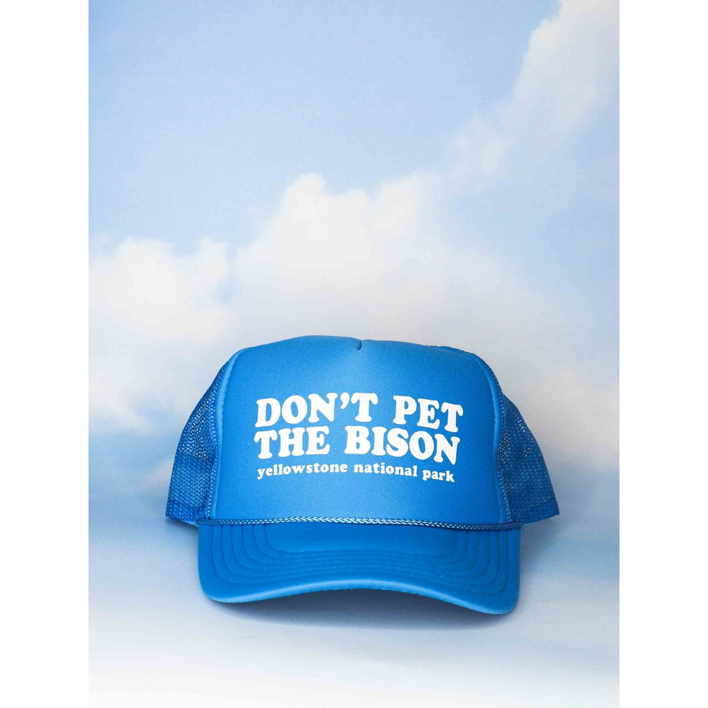 Don't Pet the Bison Light Blue Trucker Hat - Intrigue Ink Bozeman Boutique