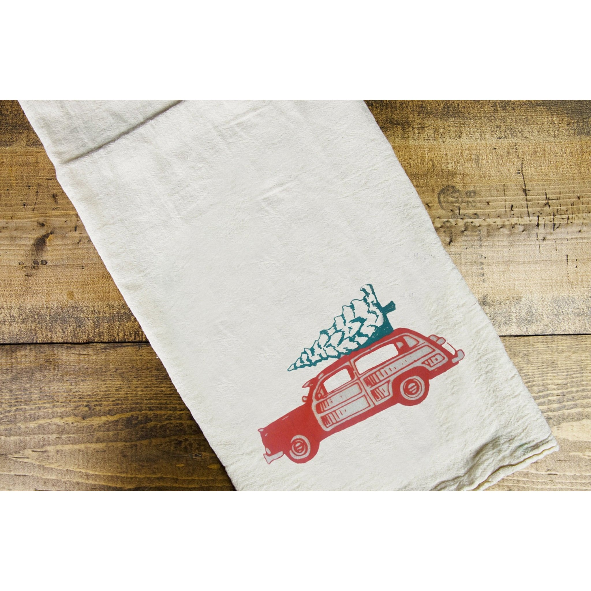 Holiday Wood Dish Towel - Intrigue Ink Visit Bozeman, Unique Shopping Boutique in Montana, Work from Home Clothes for Women