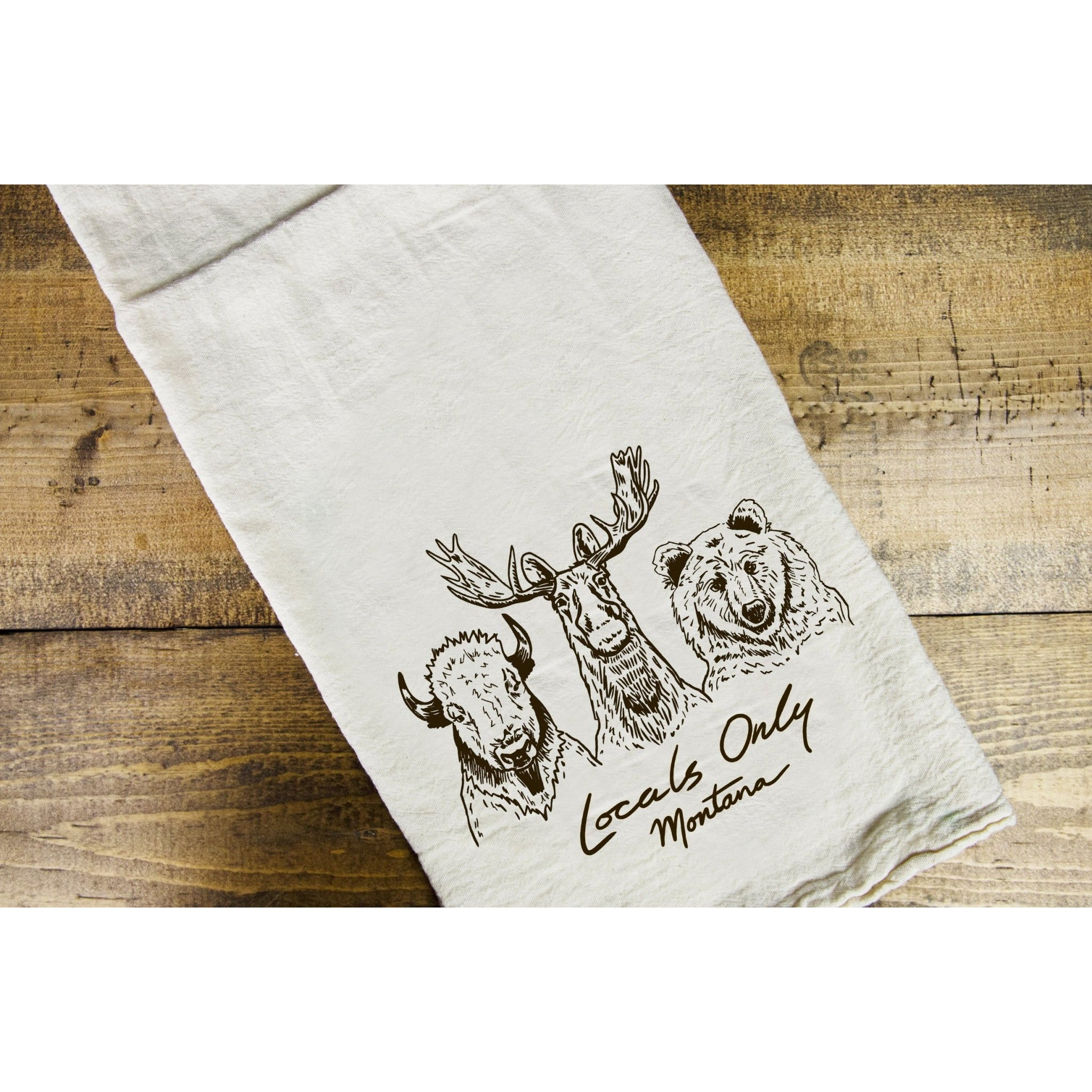 Locals Only Dish Towel - Intrigue Ink Visit Bozeman, Unique Shopping Boutique in Montana, Work from Home Clothes for Women