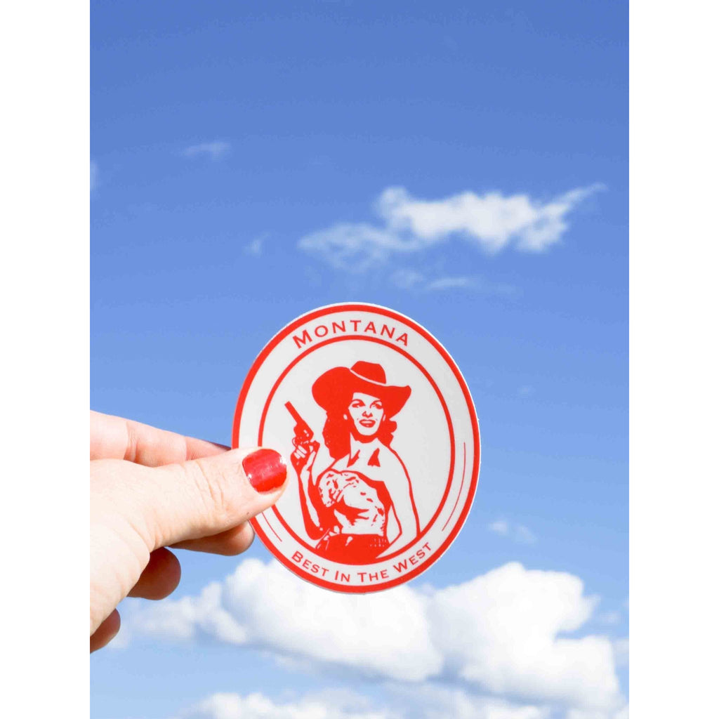 Montana Cowgirl Sticker - Intrigue Ink Visit Bozeman, Unique Shopping Boutique in Montana, Work from Home Clothes for Women