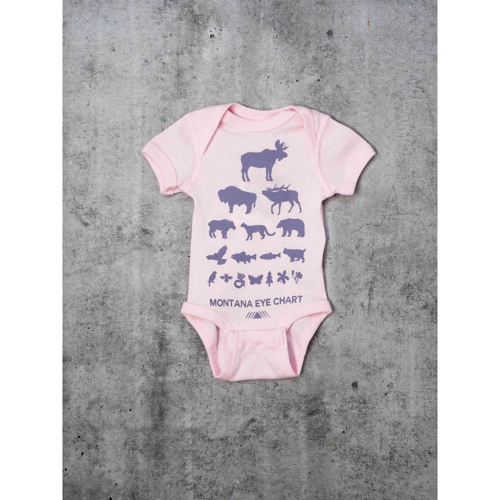 Pink Eye Chart Onesie - Intrigue Ink Visit Bozeman, Unique Shopping Boutique in Montana, Work from Home Clothes for Women
