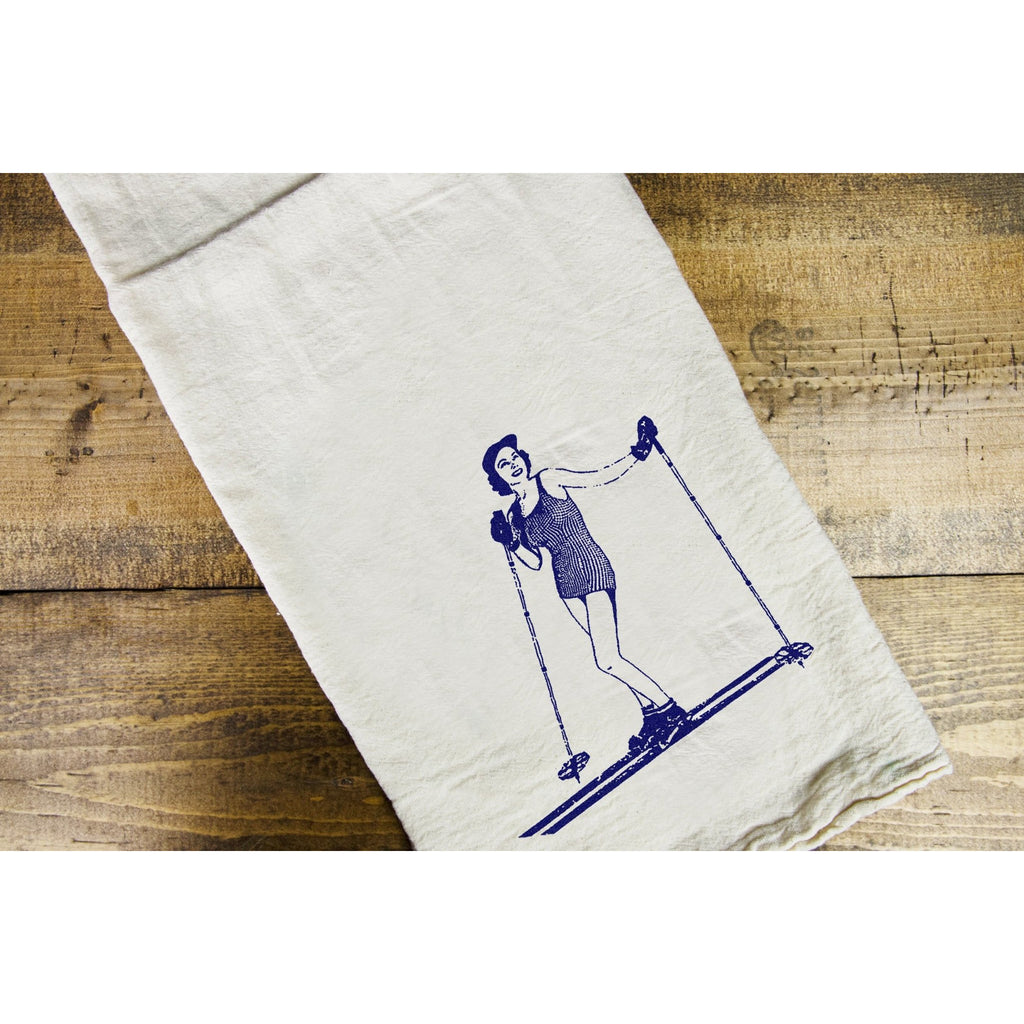 Ski MT Gal Dish Towel - Intrigue Ink Visit Bozeman, Unique Shopping Boutique in Montana, Work from Home Clothes for Women