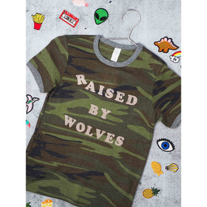 Youth Camo Raised By Wolves Ringer Shirt - Intrigue Ink Bozeman Boutique