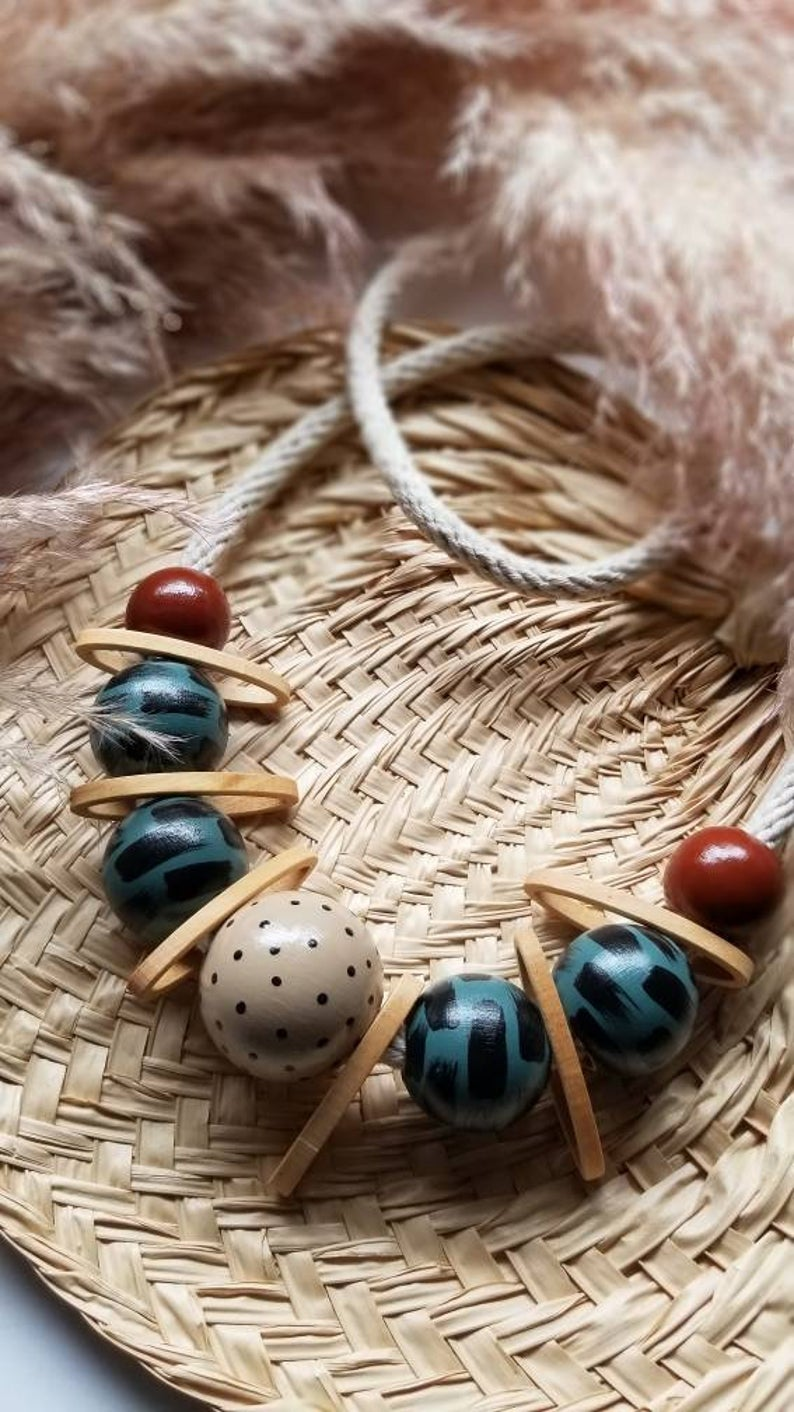 TELE - Large Wooden Bead and Rope Necklace