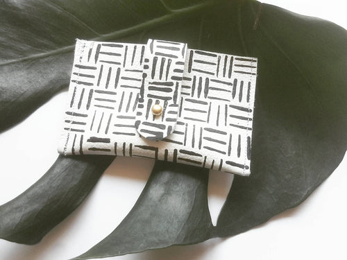 Karo - Black and white print leather wallet