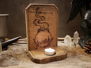 Witch's Cauldron Candle Holder