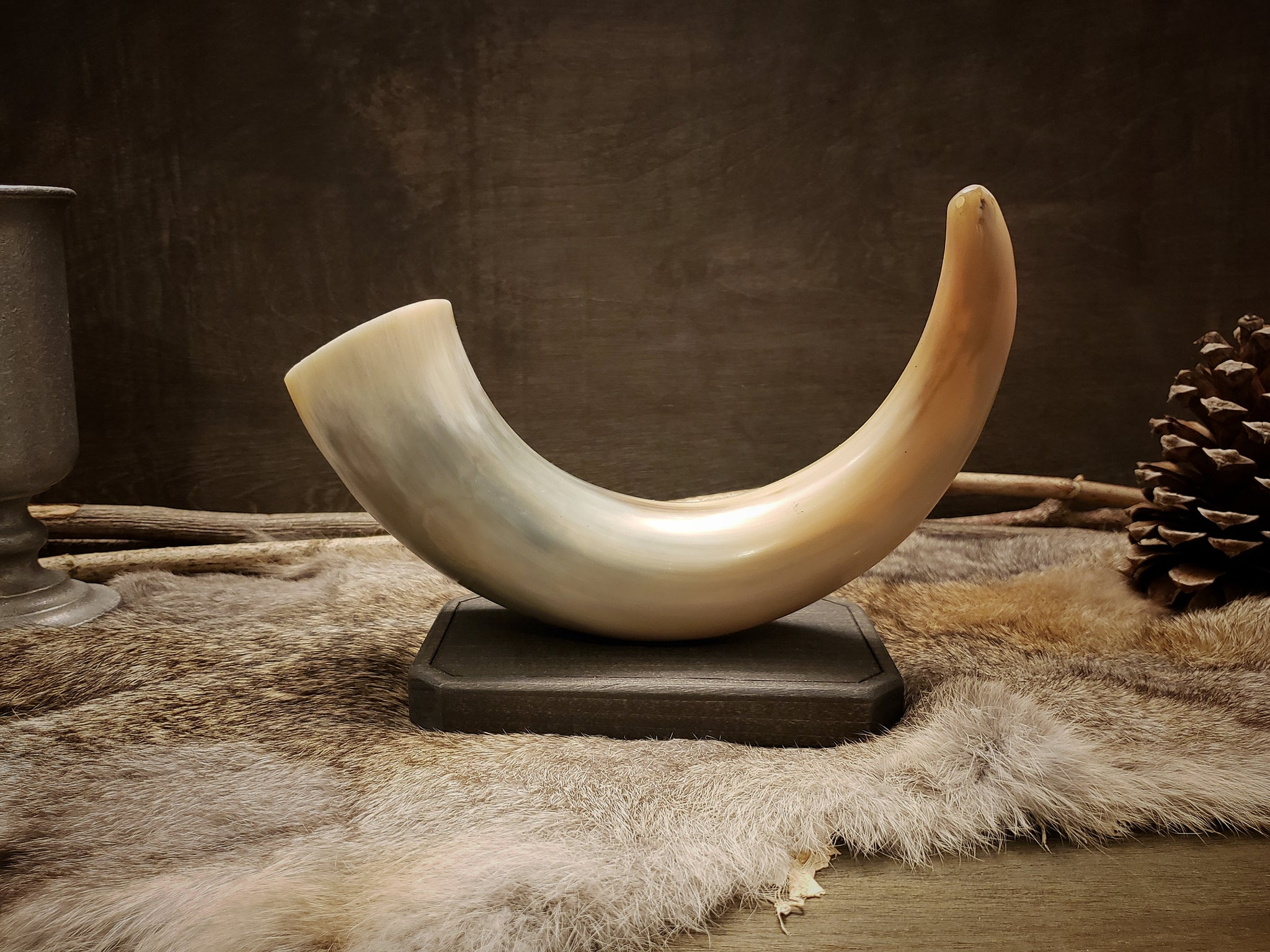 Wood & Horn Candle Holder
