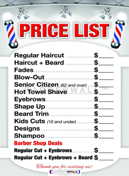 Barber Shop Price List by Barberwall®, barber shop poster Laminated 24 x 36 inches