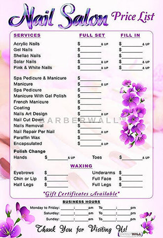 Nail Salon Price List 24 x 36 inches Laminated - Nail Salon Decor at barberwall.com