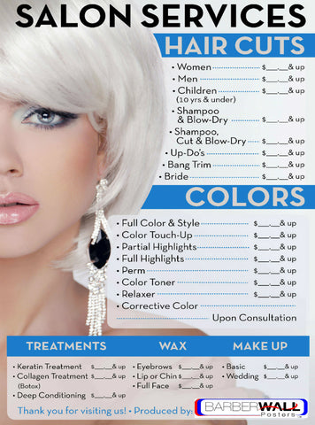 Best Beauty Salon Price List - Salon Poster Laminated- Barberwall.com