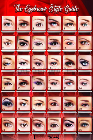 Eyebrows Poster by Barberwall®, Nail salon poster already laminated for fade prevention