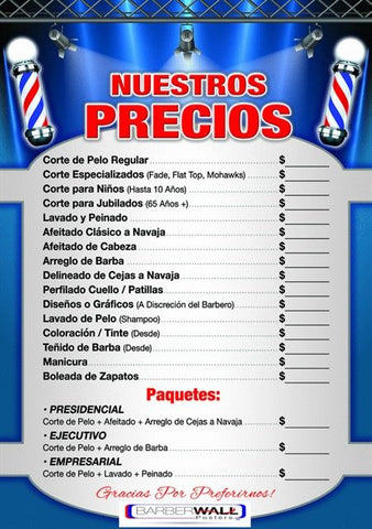 Barber Poster - Barber Shop Price List In Spanish