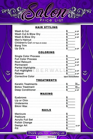 Price List For Beauty Salon by Barberwall®, Beauty Salon Poster already laminated - Salon Poster