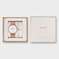 CLUSE Triomphe Mesh, Rose Gold, White & Star Bracelet Gift Box CG108208001 - geschenkbox