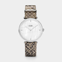 CLUSE Triomphe Silver White Pearl/Soft Grey Python CL61009 - Uhr