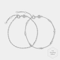 CLUSE Essentielle Silver Set of ​Two ​twisted and Hexagon Chain Bracelets CLJ12019 - Bracelets