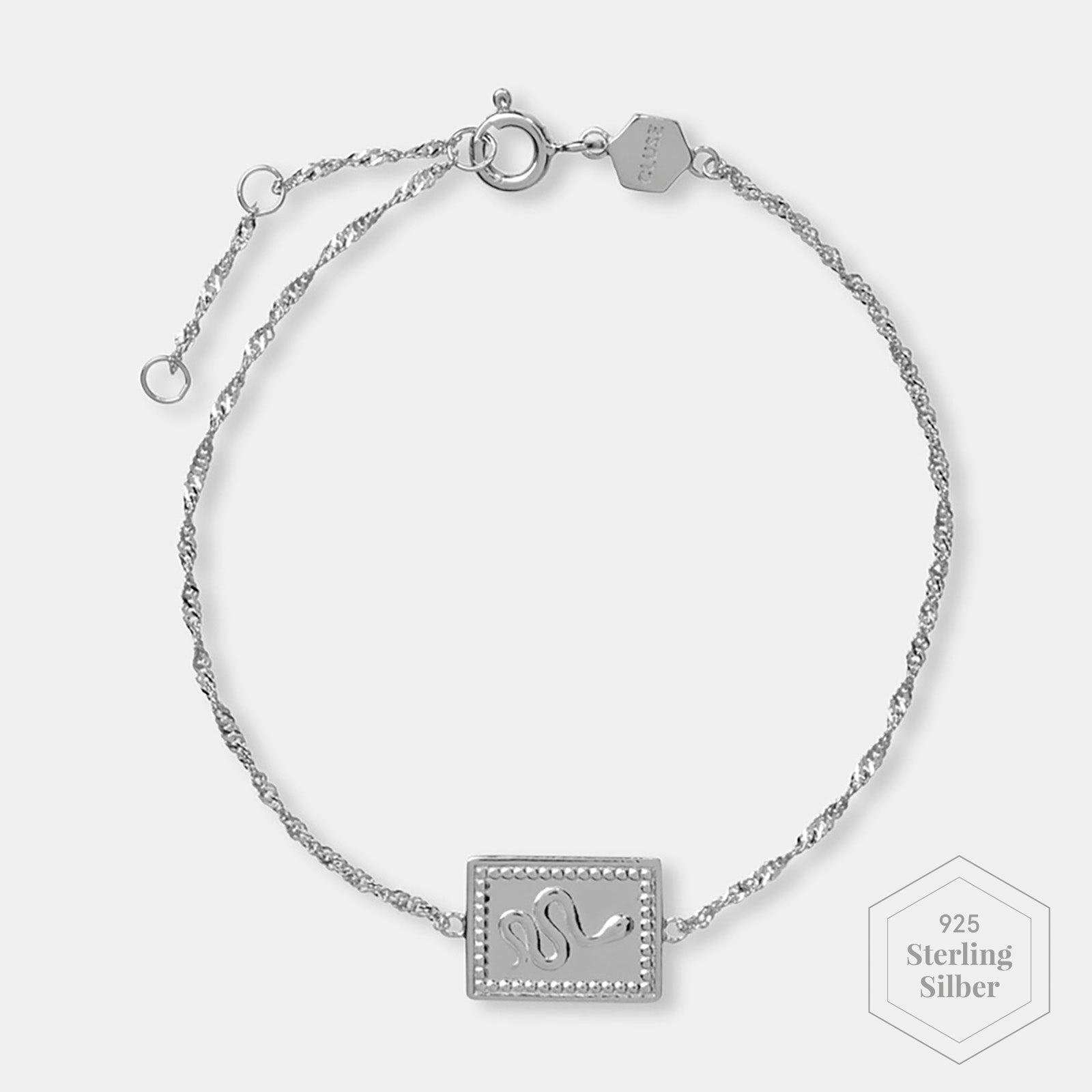 CLUSE Force Tropicale Silver Twisted Chain Tag Bracelet CLJ12022 - Armband