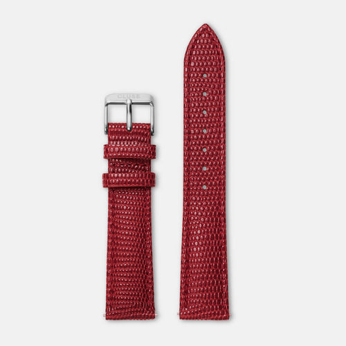 Image: CLUSE 18 mm Strap Deep Red Lizard/Silver CLS081 - uhrenarmband