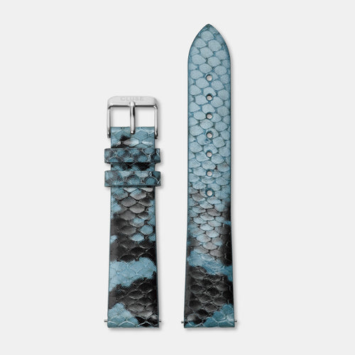 Image: CLUSE 18 mm Strap Blue Python/Silver CLS084 - Armband