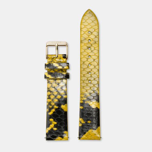 Image: CLUSE 18 mm Strap Yellow Python/Gold CLS085 - Armband