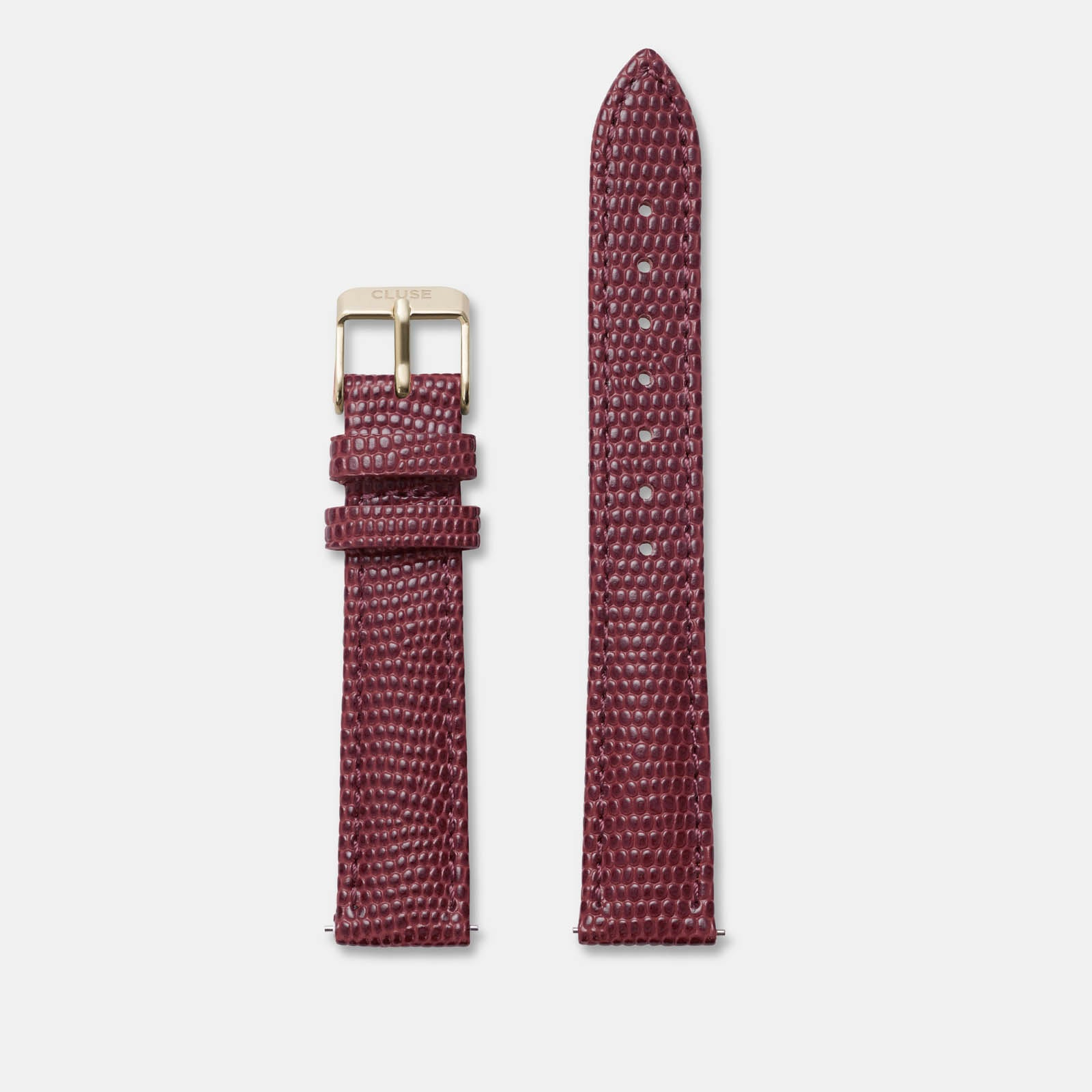 CLUSE 16 mm Strap Burgundy Lizard/Gold CLS379 - uhrenarmband